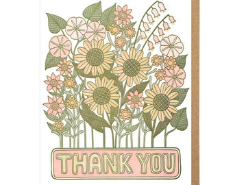 Thank You Flowers Letterpress Card
