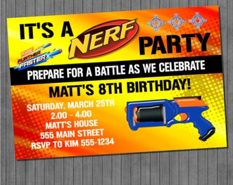 nerf party invitations – gangcraft, Party invitations