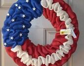 Pre order Americana/ Patriotic burlap wreath