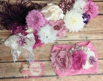 Shades of pink maternity sash