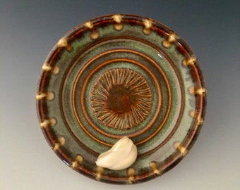 Garlic Grater-Olive Oil Dipping Dish- Garlic Plate-Saucer by NorthWind Pottery