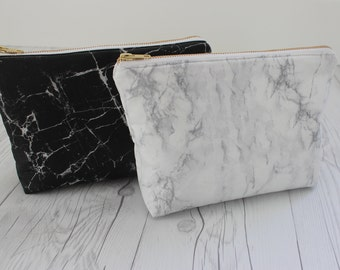 Marble Makeup Bag | Marble Clutch | Marble Toiletry Bag | White Marble | Black Marble| Bridesmaid Gift | Marble Gift |Personalized Bag