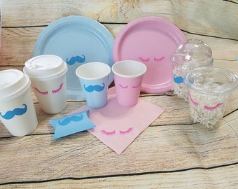 Staches or Lashes Gender Reveal Plates - Cups - Napkins - Pillow Boxes - Baby Boy or Girl Shower - Gender Reveal Coffee Cups - Pink Blue