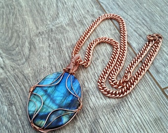 Reflecting Pool- Wire Wrapped Genuine Labradorite Cabochon Pendant on Vintage Solid Copper Chain Necklace