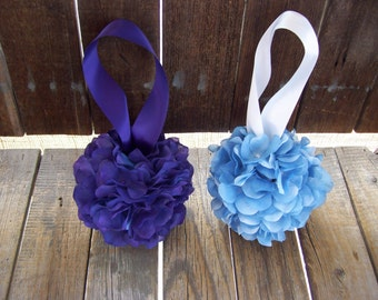 Purple OR Blue Hydrangea Kissing Balls,Large or Small Sizes,Flower Girl,Pomander, Wedding