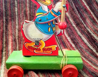 Antique Donald Duck Fisher Price Pull Toy