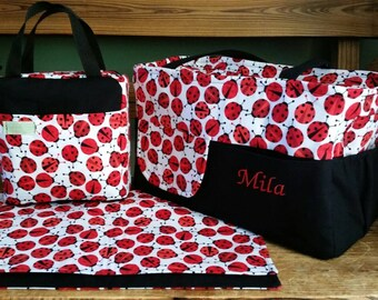 Ladybugs Diaper Bag Set. Custom make your own set in your theme or colors.