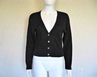 Black V neck Cardigan Knit Sweater