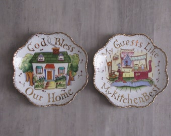 Vintage China Plates - God Bless Our Home / My Guests Like My Kitchen - set of two