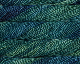 SALE 25% OFF Malabrigo Mecha Solis Merino Wool #809 in bulky weight 1 ply yarn, Vibrant Blues and Greens  in 100 gram skein