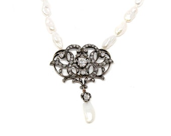 Antique Bridal Pearl & Diamond Brooch and Necklace, 1ct Diamond Center 14k White Gold