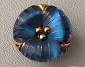 CZECH GLASS BUTTON: 27mm Handpainted Pansy Flower Czech Glass Button, Pendant, Cabochon (1)