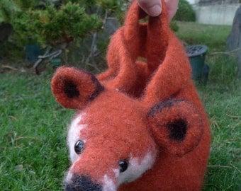 Mr Fox Knotbag: Création unique et originale, sac japonais feutré, Kitsuné, un accessoire tout tendre et rigolo.
