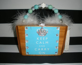Up- Cycled Crown Brooch Keep Calm and Carry On Cigar Box Purse, Tampa, Authentic