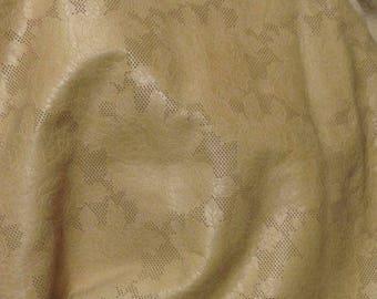 EMB31 Leather Cow Hide Cowhide Craft Fabric Beige Embossed Floral Rose 18  sf