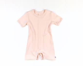 baby onesie organic cotton peach,baby summer onesie,baby pajama,organic summer playsuit,shortsleeved onesie,organic baby PJ,baby jammie