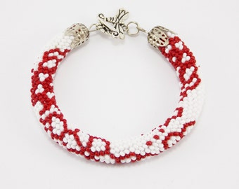 Valentine Day gift/for/women gifts/for/mom cute jewelry botanical jewelry beaded bracelets flower jewelry red white elegant bracelet wedding