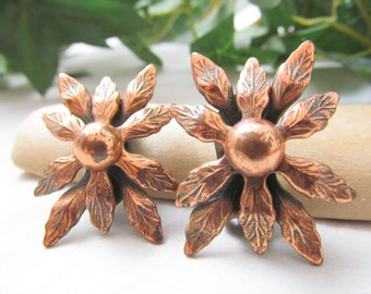 Vintage Renoir Solid Copper Beautifully Detailed Floral Flower Clip On Earring Set Signed Renoir Excellent Condition