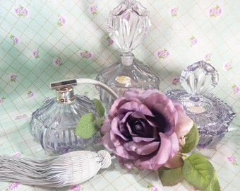 Vintage Lavender Perfume And Jars