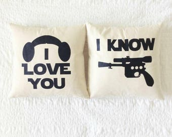 "Star Wars ""I Love You/I Know"" Pillow Set - Han Solo, Princess Leia, Wedding, Anniversary, Gift for Her, Gift for Him, Star Wars Gift Set"