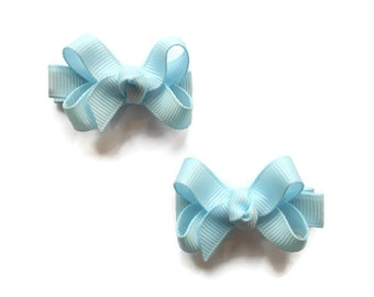 Light Blue Mini Boutique Bows - Light Blue Baby Bows -  Light Blue Pigtail Bows - Light Blue Hair Bow Set - Set of 2