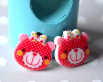 Red plush clips earrings
