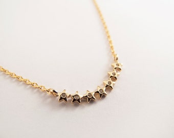 Tiny Gold Star Bar Necklace - Gift for her