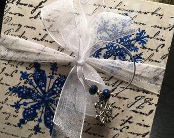 Snowflake Travertine Coasters - Set of 4