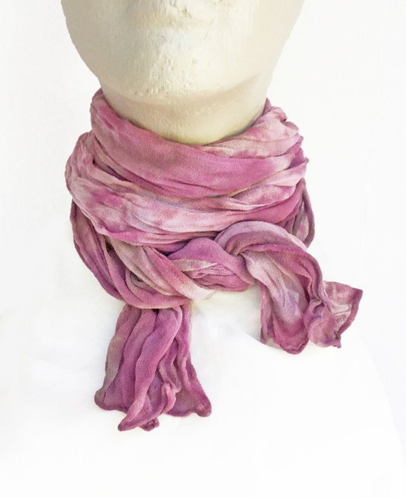 "Purple crinkle chiffon scarf - silk chiffon scarf - crinkle scarf - violet, lavender, amethyst, taupe - hand dyed - small - 10"" x 50"""