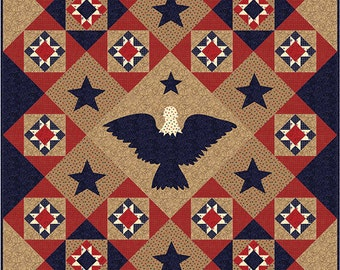 Moda Sew American Patriotic Eagle Star Fabric Valor Quilt QOV Kit 67.5 x 84.5 Tan Red Blue