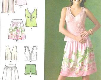 Simplicity Pattern 4196 SHORTS SKIRT TOP Vest Misses Sizes 4 6 8 10 12