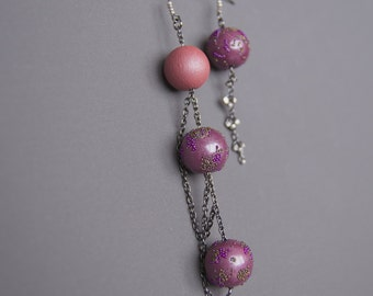 Assymetric earrings Mismatched earrings Dangle earrings Long earrings Chain earrings Beadwork earrings Pink earrings Purple earrings