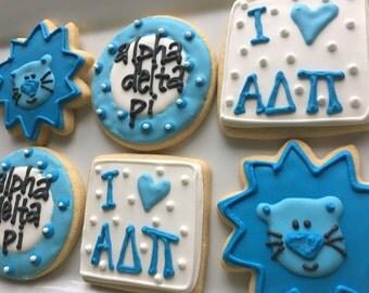 Alpha Delta Pi cookies, Decorated Sorority favors, Sugar Cookies