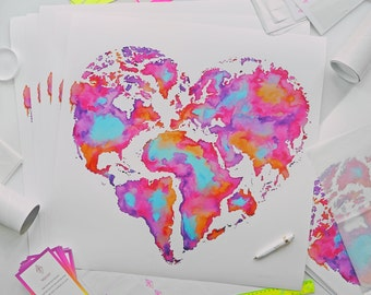 "EXTRA LARGE / Heart World Map / Signed print / 24"" x 24"""