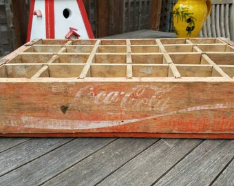 Vintage Red Wooden Coca Cola Crate, Collectable, Rustic Storage, Man Cave, Rustic Home Decor, Primitive Box, Shabby Chic, Retail Display