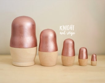 Metallic Minimalist Wood Nesting Dolls
