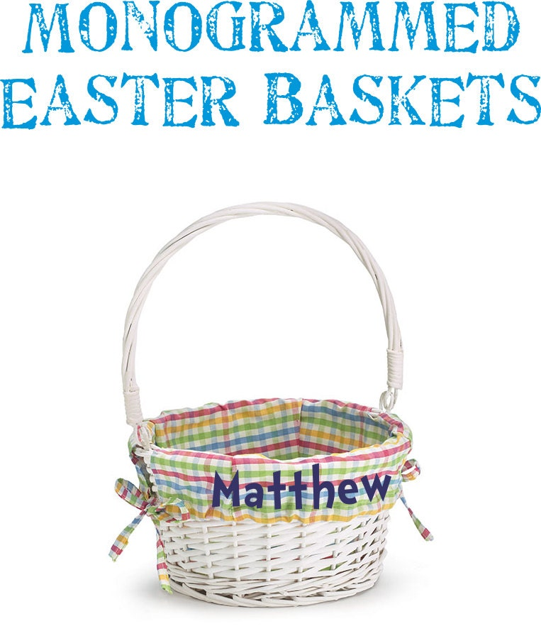 Monogrammed Easter Basket With Plaid Liner Personalized