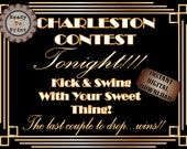 Charleston Contest Speakeasy Sign Printable Roaring 20s Prohibition Era Art Deco Gatsby Party Decor Wedding Dance Floor Sign Front Door Sign