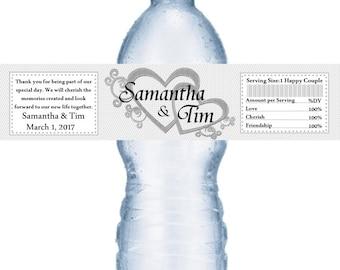 21 Silver Heart Personalized Wedding Water Bottle Labels