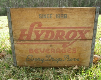 Vintage crate,soda crate,wood box,Antique Hydrox Beverages Box,EveryDrop Pure, Wood Crate, wood box, vintage crate,  crate, vintage wood box