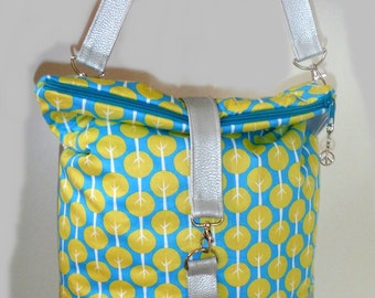 Shoulder tote bags cotton faux leather turquoise yellow silver height 40 cm width 32 cm depth 10 cm full bag strap 122 cm