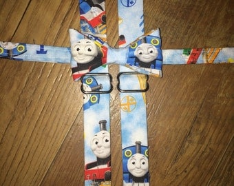Thomas the Train/ bow tie and suspender set out /boys/Toddler tie - perfect for birthdays and pictures