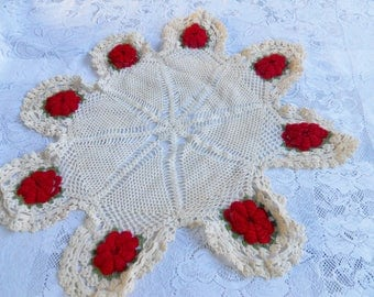"Vintage Crochet Dollie  24"" with Crochet Roses, Center Piece Dollie"