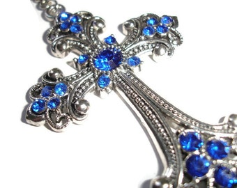 Cross Pendant Silver Cross Pendant Blue Crystal cross Pendant for Faithful Rhinestone cross Blue Cross Necklace gift for her