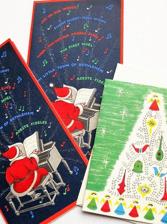 Three vintage Christmas cards. Buzza Cardoza, Century. Greeting cards. Velvet Santa. Christmas carols. Christmas tree. (Only one envelope)
