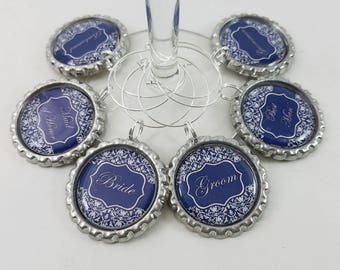 Navy & White Wine Charms - Wedding Party BottleCap Wine Charms - Personalized