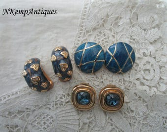 Vintage earrings x 3 clip ons