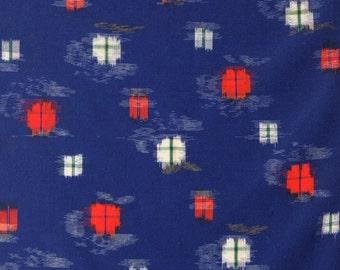 Navy Kimono Wool Vintage Fabric Kasuri Red White Floral 37cm Width per 1 Metre Length BX036