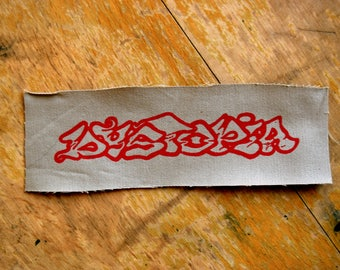 Dystopia patch screenprint red