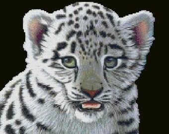 White Tiger Cub Cross Stitch Pattern-animal, tiger, cat, cub